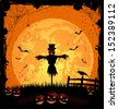 Halloween night background with full Moon, pumpkins and scarecrow, illustration - stock vector