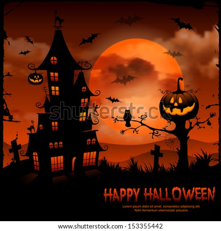 Halloween night background with pumpkin and full moon. - stock vector