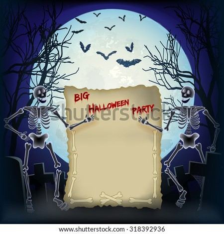 Halloween night background with skeletons, big full moon and space for Invitation to Big Halloween Party - stock vector
