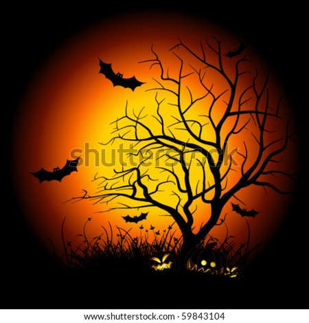 Halloween night background with tree pumpkin bat and grass - stock vector