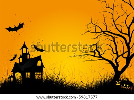 Halloween night background with tree pumpkin bat and house - stock vector
