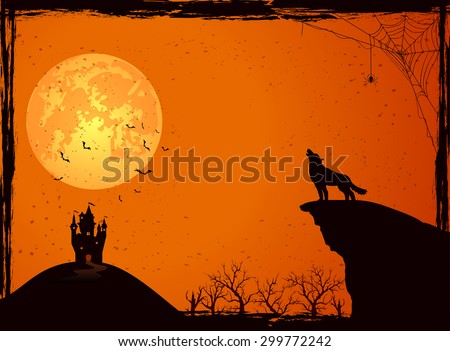 Halloween night background with wolf, castle, Moon, cemetery and bats, illustration. - stock vector