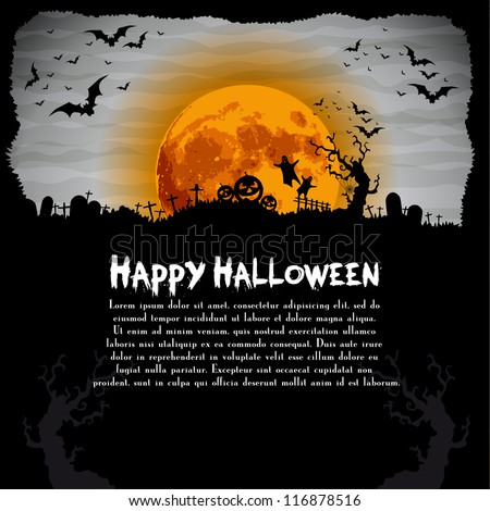 Halloween night illustration - background with place for text - stock vector