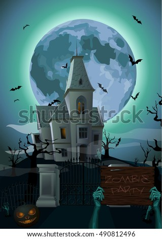 Halloween night: moon beautiful castle chateau zombie hands holding plank with text party ghost carved scary pumpkin trees bat rearmouse. Vector vertical closeup side view sign holiday illustration