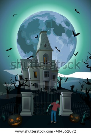 Halloween night: moon beautiful castle, chateau zombie zombi gate, ghost, carved scary pumpkin trees bat rearmouse. Vector vertical closeup side view sign signboard illustration to celebration holiday