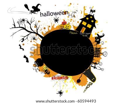 Halloween night on little planet earth - stock vector
