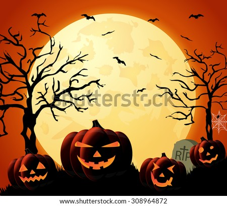 Halloween night orange background with pumpkins and moon. Vector illustration. - stock vector