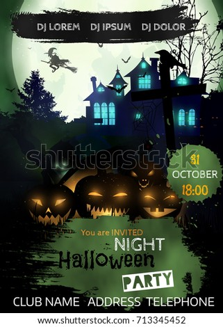 halloween night party ideal for horror themed parties clubs posters music events and - Halloween Night Party