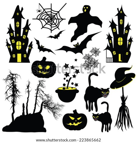 Halloween objects isolated on white background. - stock vector