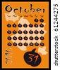 Halloween October Calendar. - stock vector