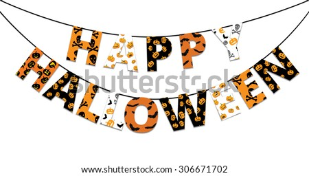Halloween orange and black banner with greetings Happy Halloween - stock vector