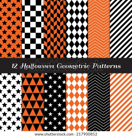Halloween Orange, Black and White Geometric Patterns. Backgrounds in Diamond, Chevron, Polka Dot, Checkerboard, Stars, Triangles, Herringbone & Stripes. Pattern Swatches made with Global Colors.  - stock vector