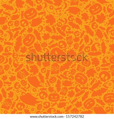 Halloween orange festive seamless pattern - stock vector