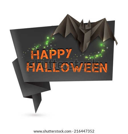 Halloween origami speech bubble with origami bat and omnious lights. Vector illustration, eps10. - stock vector