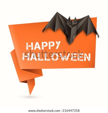 Halloween Origami Speech Bubble Origami Bat Stock Vector 216447358 ...