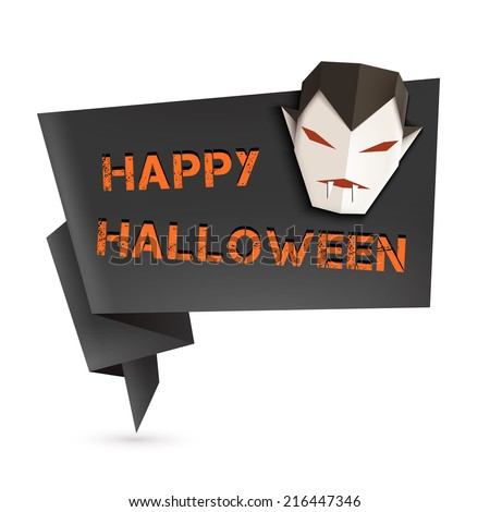 Halloween origami speech bubble with origami vampire. Vector illustration, eps10. - stock vector