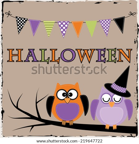 Halloween owls with bunting or banner on brown grunge background - stock vector