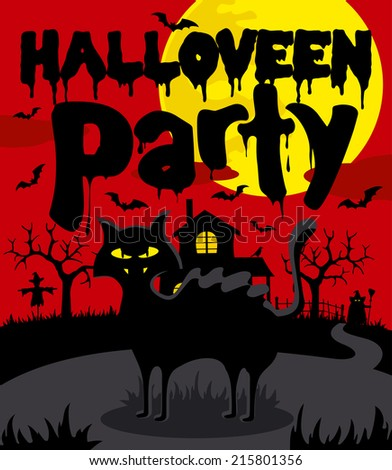 Halloween party background,red - stock vector