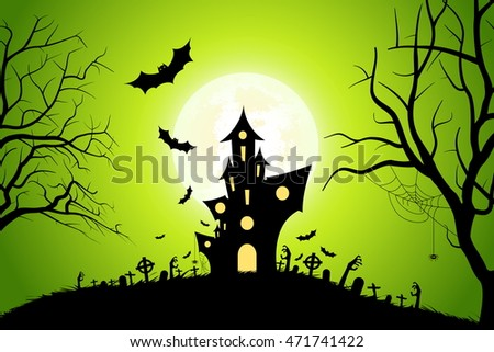 Halloween Party Background with Haunted House, Bats, Moon and Spider