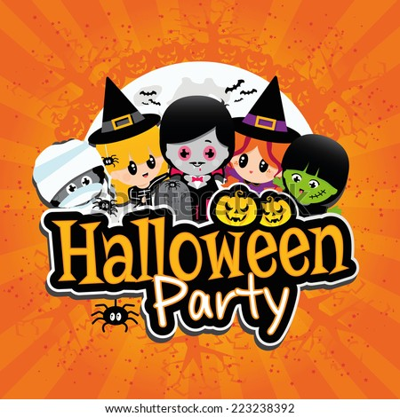 halloween party banner on an orange textured background with children dressed in costumes as dracula - Children Halloween Pictures