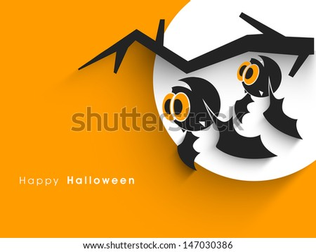 Halloween party banner, poster or background with scary owls and dead tree branch.  - stock vector