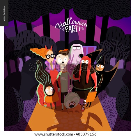 Halloween Party card with lettering. Vector cartoon illustrated group of kids going to halloween party, wearing Halloween costumes, standing in the court in front of opened door, old lady with scythe.