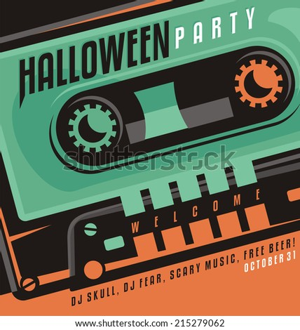 Halloween party - creative design concept with skull shape made as a part of music cassette tape. - stock vector