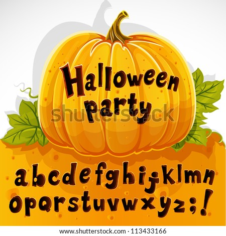 Halloween party cut out pumpkin lowercase alphabet - stock vector