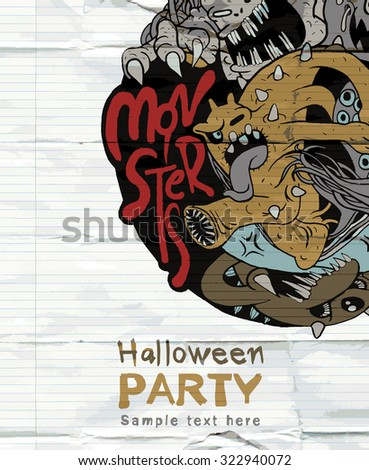 Halloween Party Design template and place for text.hand-drawn monsters group,Vector illustration
