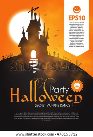 Halloween Party Design Template Spooky Poster Stock Vector 478155712