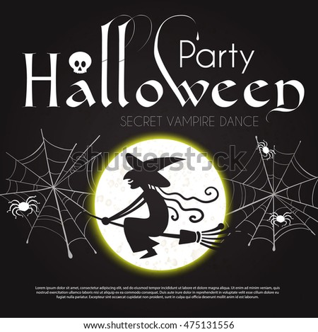 Halloween Party Design Template. Spooky Poster with Flying Witch, Moon, Spider, Cobweb and Place for Text. Vector illustration