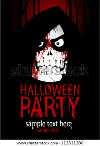 Halloween Party Design template, with death and place for text. - stock vector