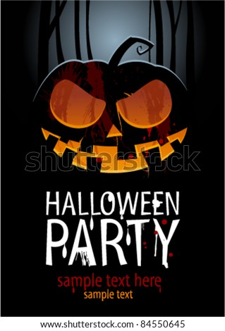 Halloween Party Design template, with pumpkin and place for text. - stock vector