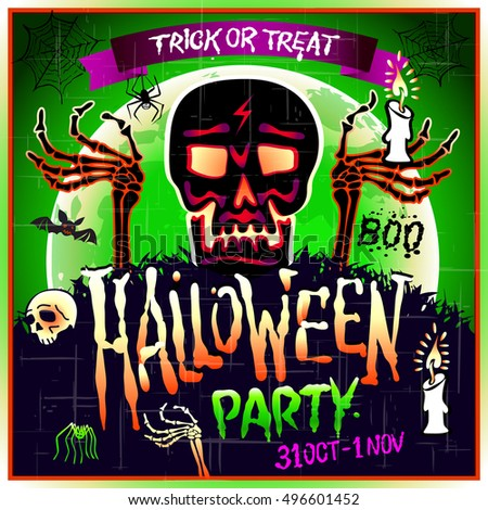 Halloween Party Design template with skull zombie and place for text. art
