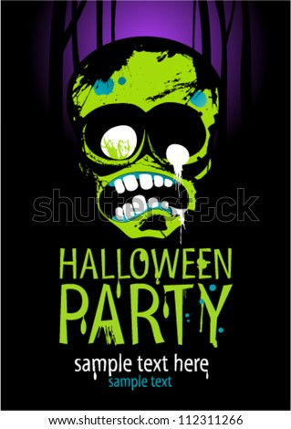 Halloween Party Design template with zombie and place for text. - stock vector