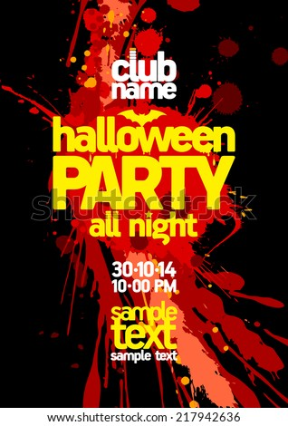 Halloween party design with bloody blots and place for text. - stock vector