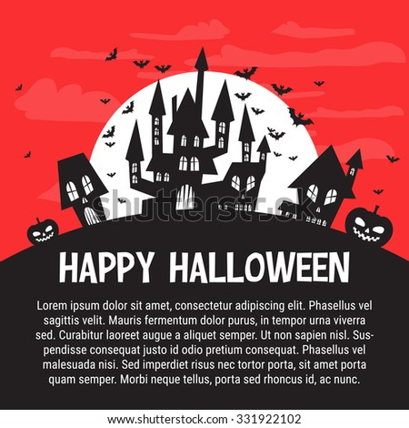 Halloween Party Flyer Template Castles Bats Stock Vector Hd Royalty