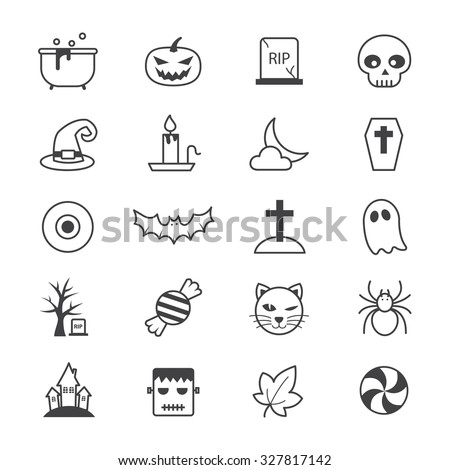 Halloween Party Icons Line - stock vector