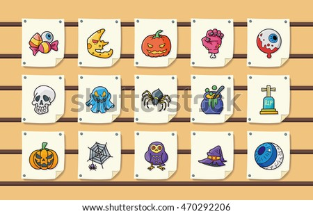 Halloween party icons set,eps10