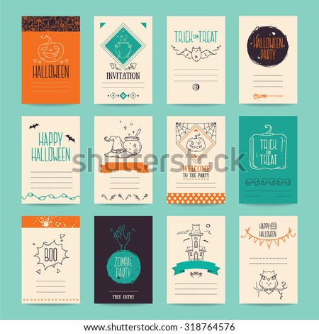 Halloween party invitation and greeting card, flyer, banner, poster templates. Hand drawn traditional symbols, cute design elements, handwritten ink lettering. Orange and turquoise vector collection. - stock vector