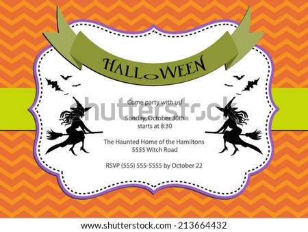 Halloween Party invitation. dark orange chevron background with witch and bats. Vector eps10, illustration. - stock vector