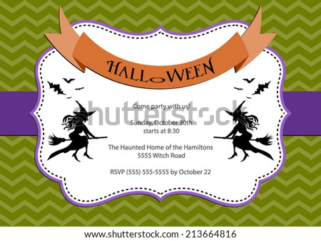 Halloween Party invitation. green chevron background with witch and bats. Vector eps10, illustration. - stock vector