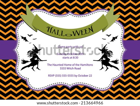 Halloween Party invitation. Orange chevron background with witch and bats. Vector eps10, illustration.  - stock vector