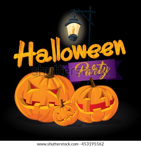 Halloween party invitation poster background. Vector illustration - stock vector