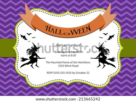 Halloween Party invitation. purple chevron background with witch and bats. Vector eps10, illustration. - stock vector