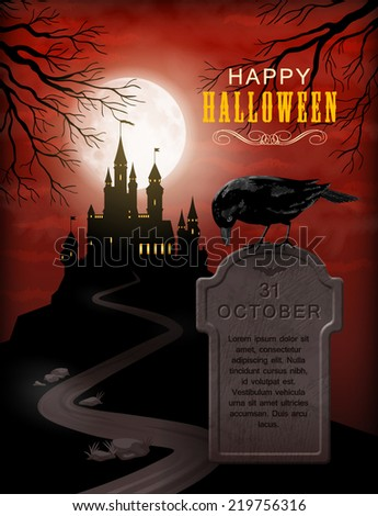 Halloween Party Invitation with castle silhouette on the hill against moonlight sky, Raven, gravestone - stock vector