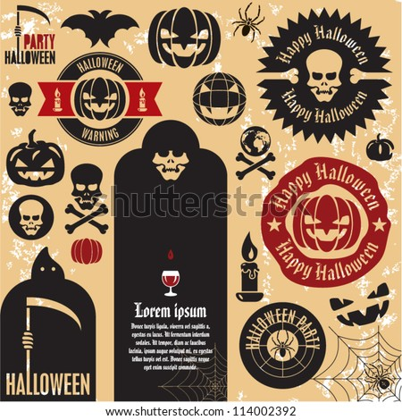 Halloween party labels and icons collection. Halloween pumpkin. - stock vector
