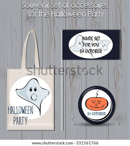 Halloween party lettering set with stylized funny sketched pumpkin and ghost. stickers and poster. lettering design. festive halloween elements. party items - stock vector