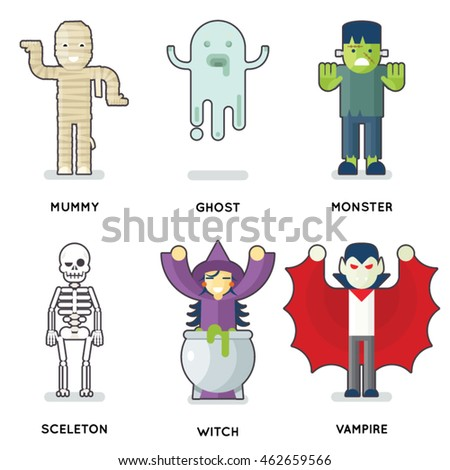 Halloween Party Monster Roles Characters Set Isolated Flat Design Vector Illustration