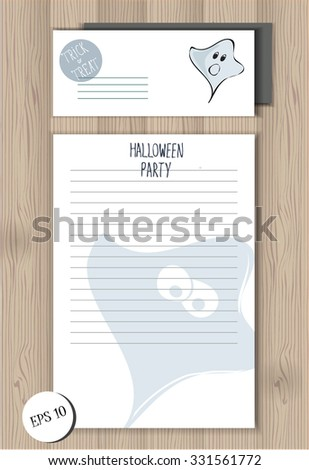 Halloween party office set with stylized funny sketched ghost. Template of envelope and lined empty blank on the wooden background. lettering design. festive halloween elements. party items - stock vector